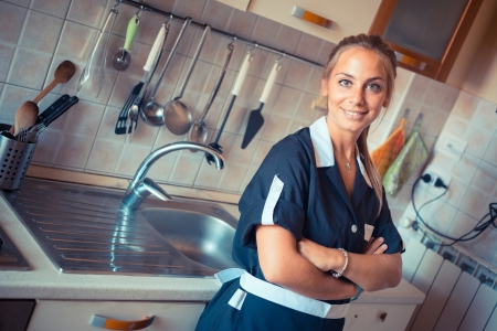Happy Housemaid with Clean Kitchen photo