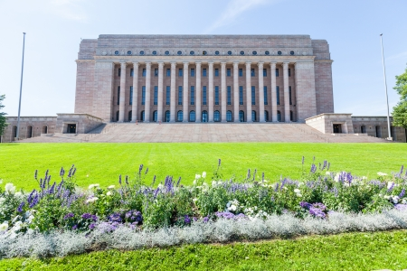 Finnish Parliament House in Helsinki Stock Photo