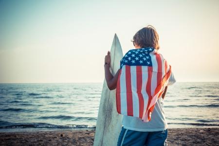 hawaii flag: American Boy with Surf Board