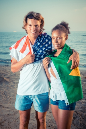 American Boy with Brazilian Girl at Beach photo