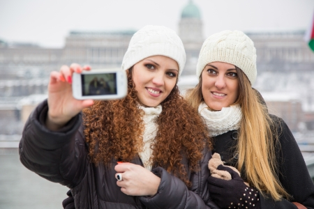 Two Women in Budapest on Winter photo