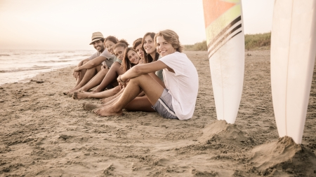 surfing beach: Group of Friends at Seaside