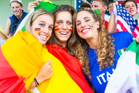 football fans: German, Spanish and Italian Supporters at Stadium