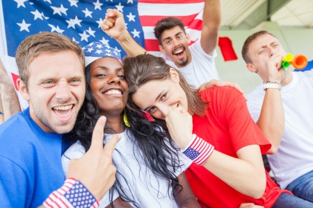 cheering fans: American Supporters at Stadium Editorial
