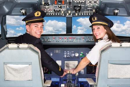 コクピット内のパイロット 写真素材