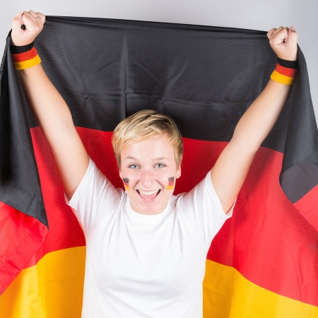 supporter: Happy German Supporter Stock Photo