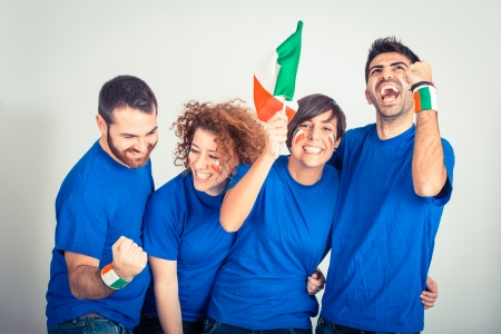 football fans: Group of Italian Supporters Stock Photo