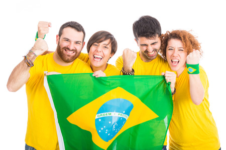 cheering fans: Group of Brazilian Supporters