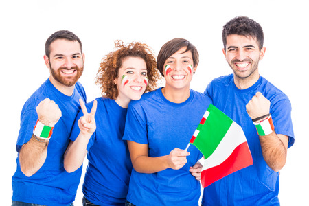 cheering fans: Group of Italian Supporters Stock Photo