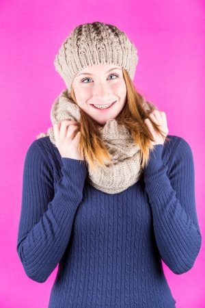Smiling Beautiful Girl with Hat and Scarf photo