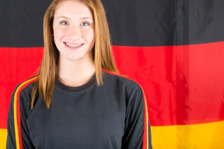 supporter: Young German Female Supporter Stock Photo