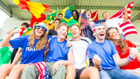 Supporters from Multiple Countries at Stadium All Together Stockfoto