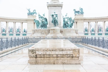 heros: Heroes Square in Budapest with Snow