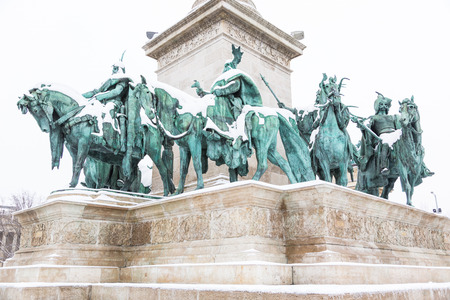Heroes Square in Budapest with Snow photo