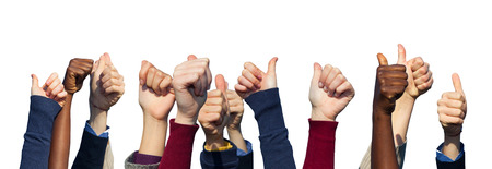 thumbs up: Multiracial Thumbs Up on White Background Stock Photo