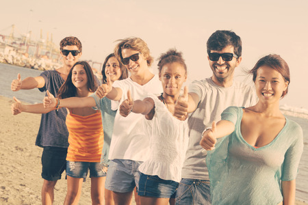 Multiethnic Group of Friends at Beach Stock Photo - 25641750