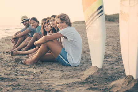 surfboard: Group of Friends at Seaside