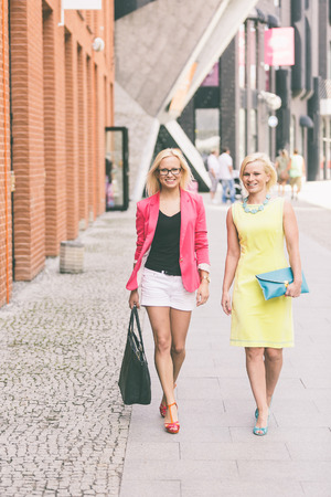 europe eastern: Two Beautiful Women in the City Stock Photo