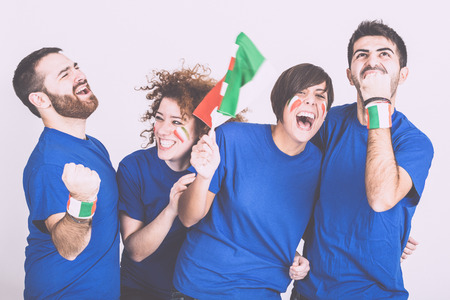 fans: Group of Italian Supporters Stock Photo