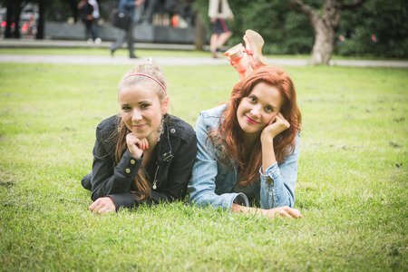 lesbian girls: Two Girls at Park in Tallinn