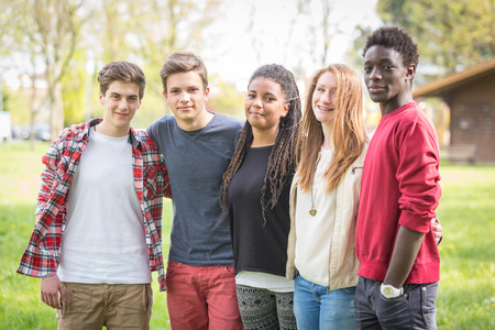group of young adults: Multiethnic Group of Teenagers Outdoor