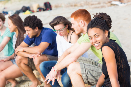 mixed race woman: Multiracial Group of Friends at Beach