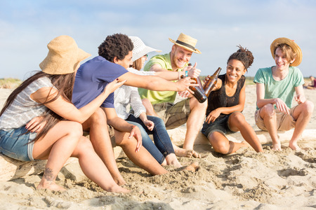 Multiracial Group of Friends at Beach photo