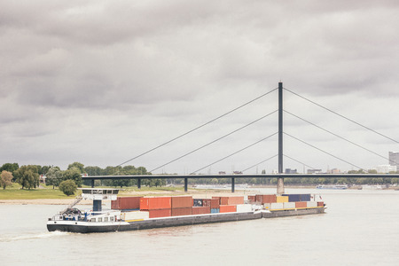 Cargo Barge on Rhine River in Dusseldorf