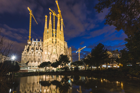 uncomplete: Sagrada Familia in Barcelona at Night