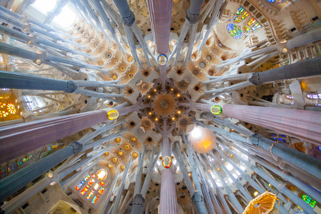 uncomplete: BARCELONA, SPAIN - FEBRUARY 27: Sagrada Familia, interior view on February 27, 2013 in Barcelona, Spain. Designed by Antoni Gaudì, the church is still incomplete.