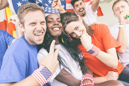 supporters: American Supporters at Stadium Stock Photo