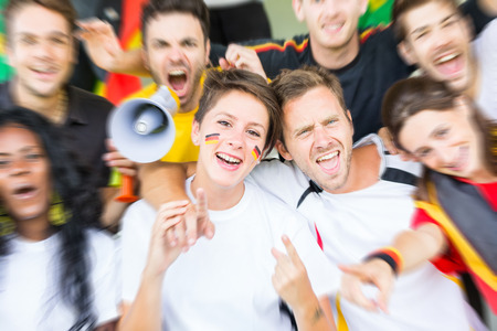 cheering fans: German Supporters at Stadium