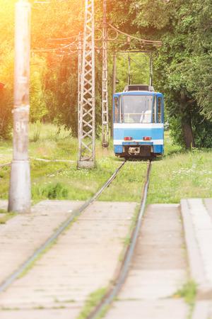 tramway: Tram on Tramway in Tallinn Stock Photo