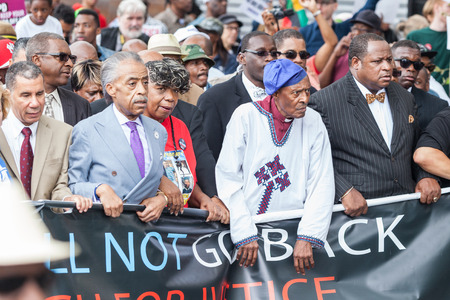 NEW YORK, USA - AUGUST 23, 2014: Thousands march in Staten Island to protest Eric Garner's death by NYPD cops.