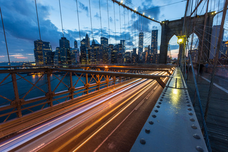 Brooklyn Bridge in New York at Dusk photo
