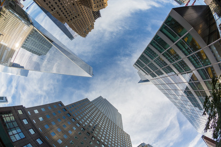 shortest: Freedom Tower and shortest Skyscrapers in Lower Manhattan, New York Stock Photo