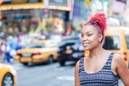 times square: Beautiful Young Woman Portrait in New York