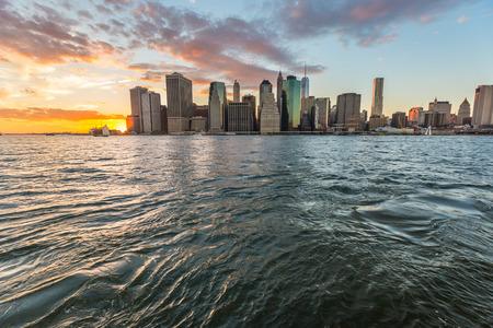 hudson river: New York Downtown at Sunset
