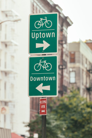 bicycle lane: Bike Signs in New York Stock Photo
