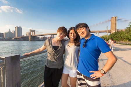 japanese woman: Japanese Tourists in New York Stock Photo