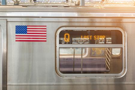 verenigde staten vlag: Verenigde Staten vlag op een Metro