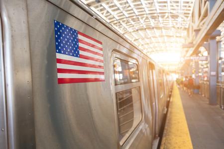 United States Flag on a Subway Train