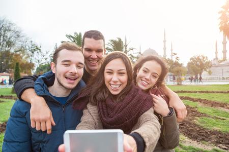 est: Group of Turkish Friends taking Selfie in Istanbul