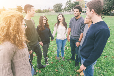 integrated group: Multiethnic Group of Friends Holding Hands in a Circle Stock Photo