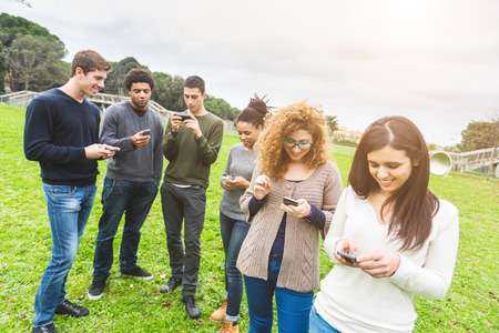 mobile phone: Multiethnic Group of Friends, Smart Phone Addicted