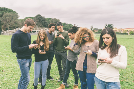 integrated groups: Multiethnic Group of Friends, Smart Phone Addicted