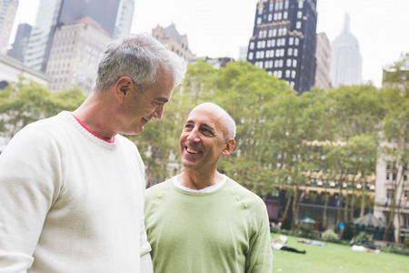 gay couple: Gay Couple at Park in New York Stock Photo