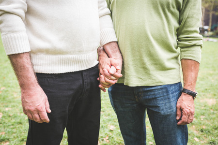Gay paar hand in hand in het Park Stockfoto - 34281555
