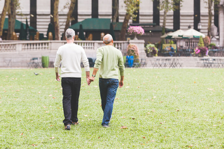 human relationship: Gay Couple at Park in New York Stock Photo
