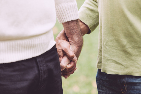 gay men: Pareja gay de la mano en el parque